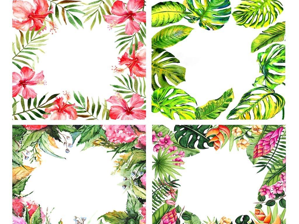 小清新森系热带植物树叶芭蕉叶手绘边框png素材