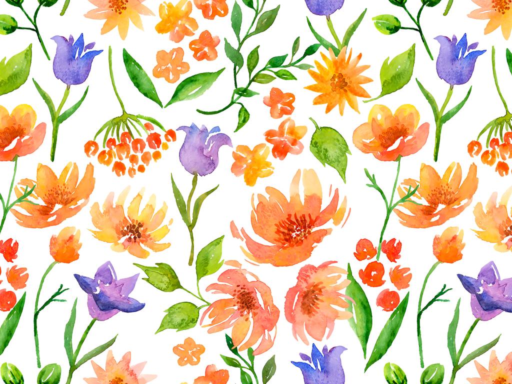 手绘水彩植物花藤无缝数码印花