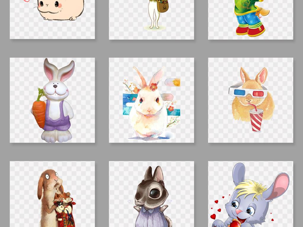 可爱卡通手绘兔子动物png免抠素材