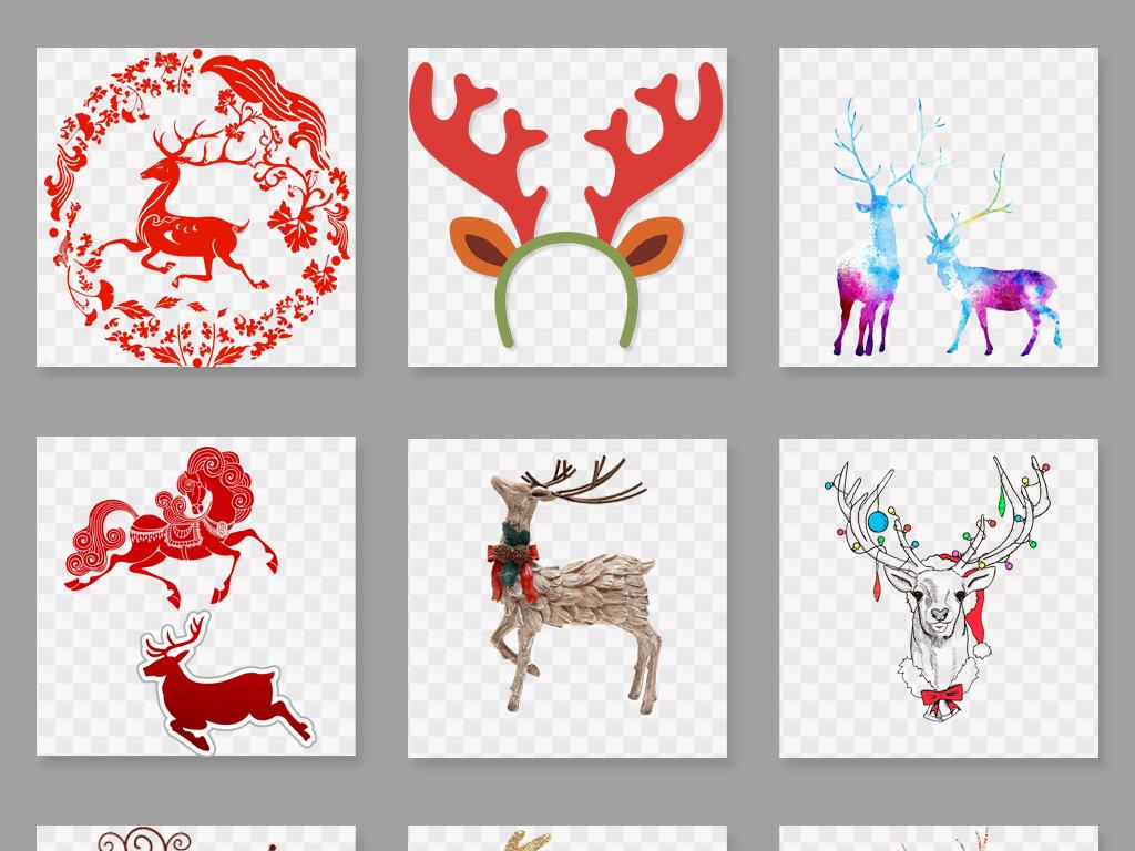 设计元素 自然素材 动物 > 水彩鹿森林鹿剪影圣诞鹿png素材  素材图