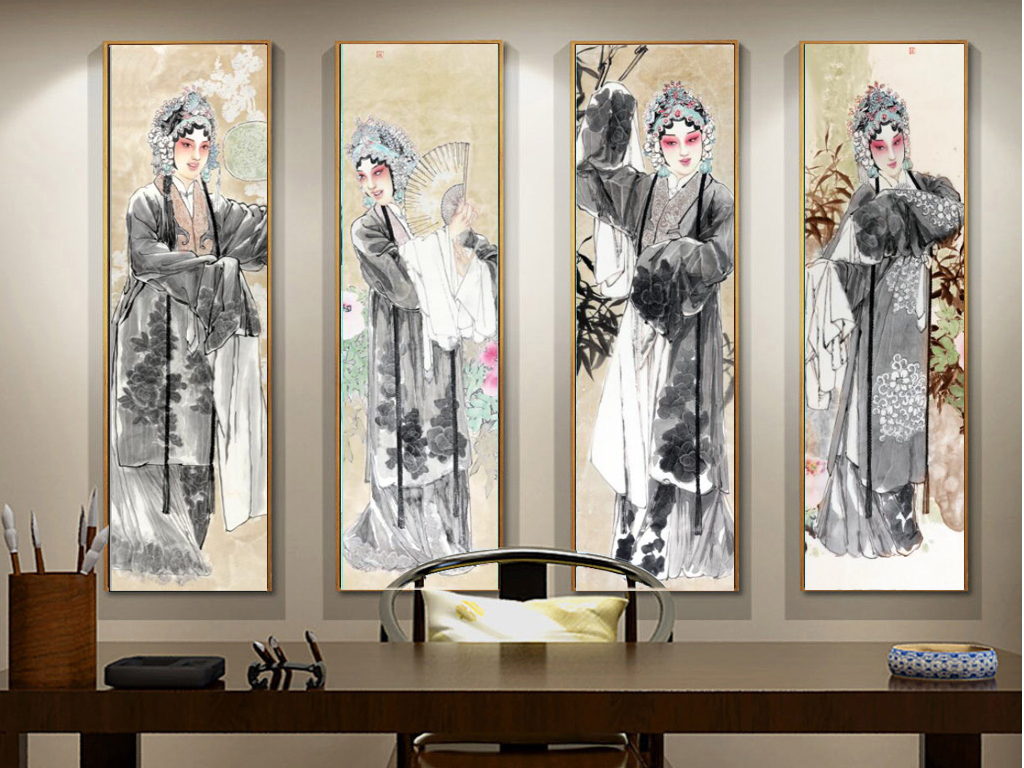 新中式京剧花旦四条屏装饰无框画图片设计素材 高清模板下载 70.63