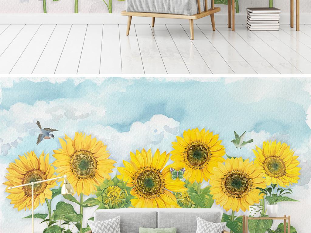 北欧简约手绘向日葵天空电视沙发背景墙