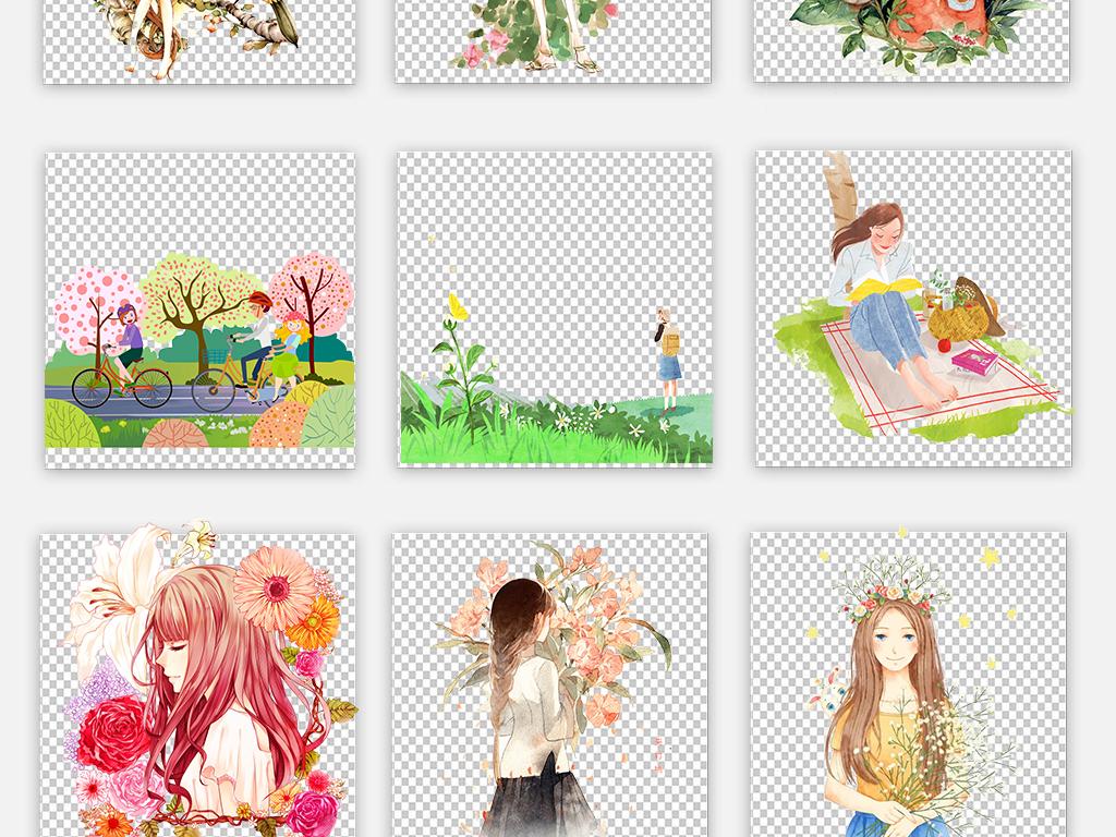 唯美手绘森系春季女孩插画少女png素材图片_模板下载
