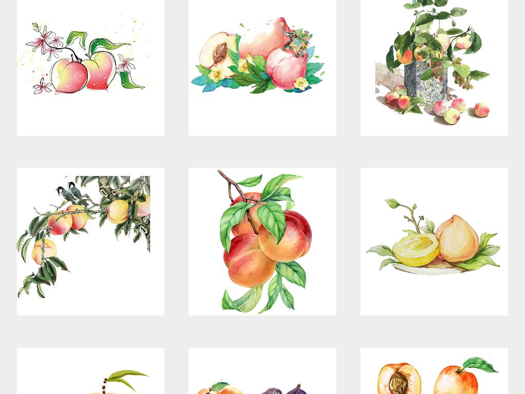 卡通可爱新鲜水果黄桃手绘杏子水彩桃子png免扣素材