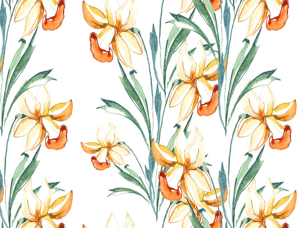 底纹花朵水彩小鸟植物叶子清新简约桃花矢量花卉清爽植物大花水彩