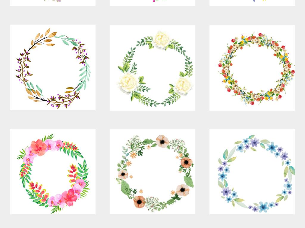 50款唯美手绘小清新圆形花环边框png素材