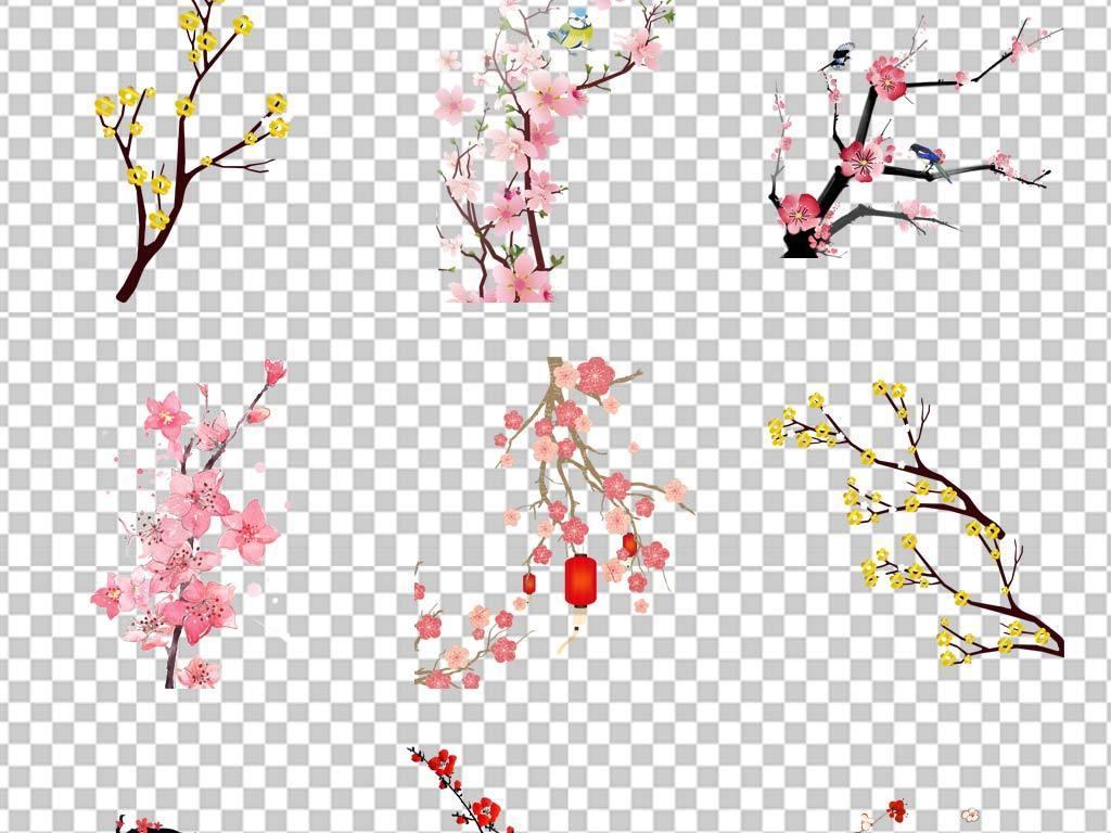 中国古风手绘工笔画牡丹小鸟花鸟png素材