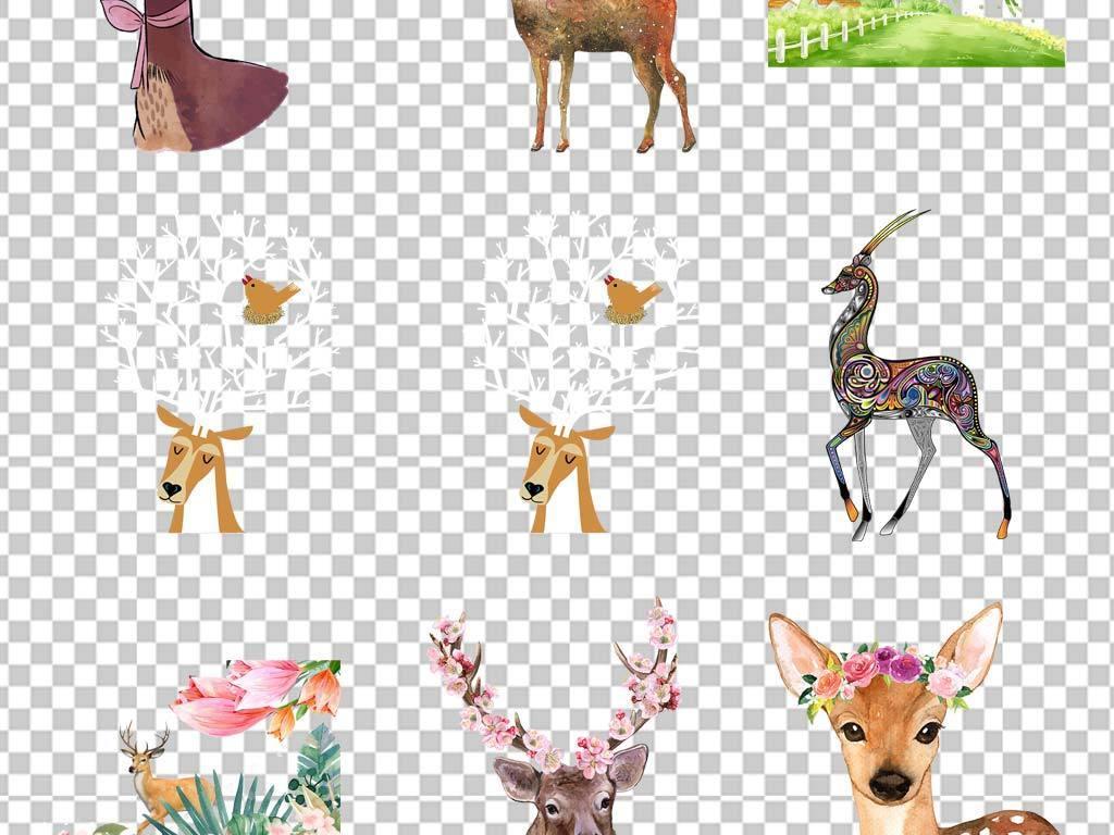手绘鹿头花卉png免扣图片素材