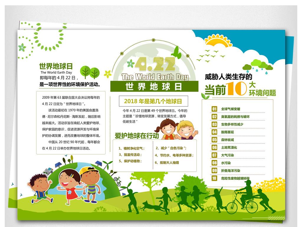 幼儿园环境保护宣传电子小报儿童手抄报模板图片