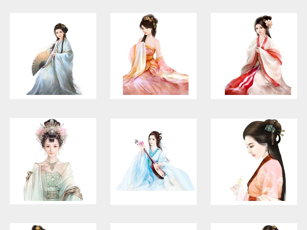 新中国风古代美女古风古装古典人物png免扣素材