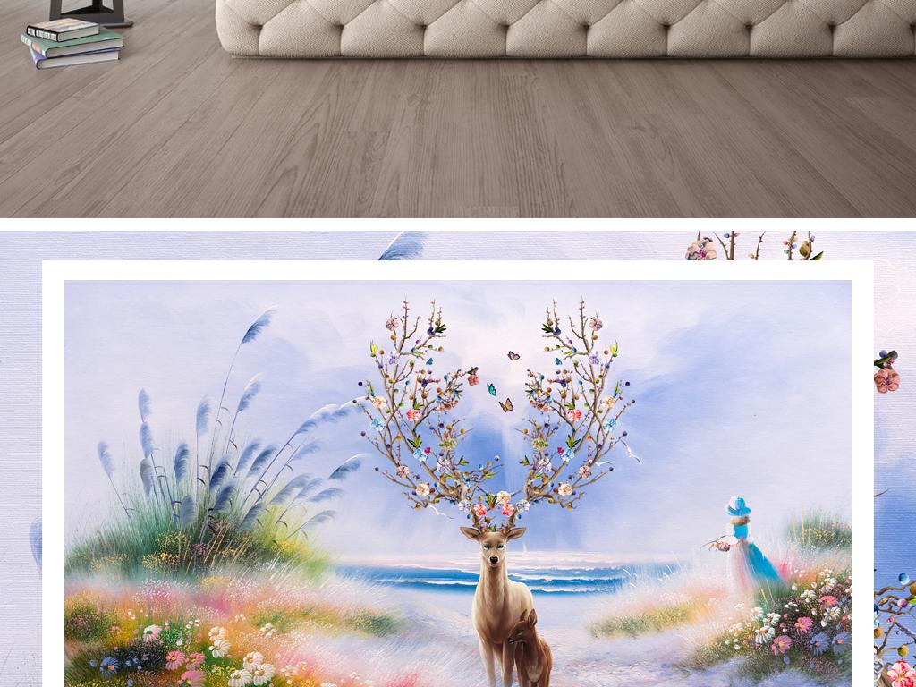 抽象麋鹿大海手绘油画芦苇背景墙