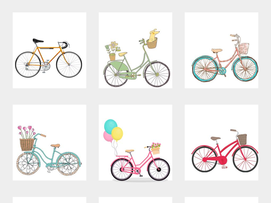 卡通手绘自行车单车免抠png图片素材1