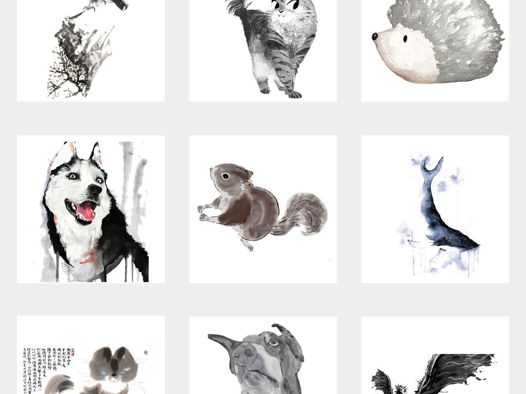 中国风手绘水墨动物古风国画水墨动物背景png免扣素材