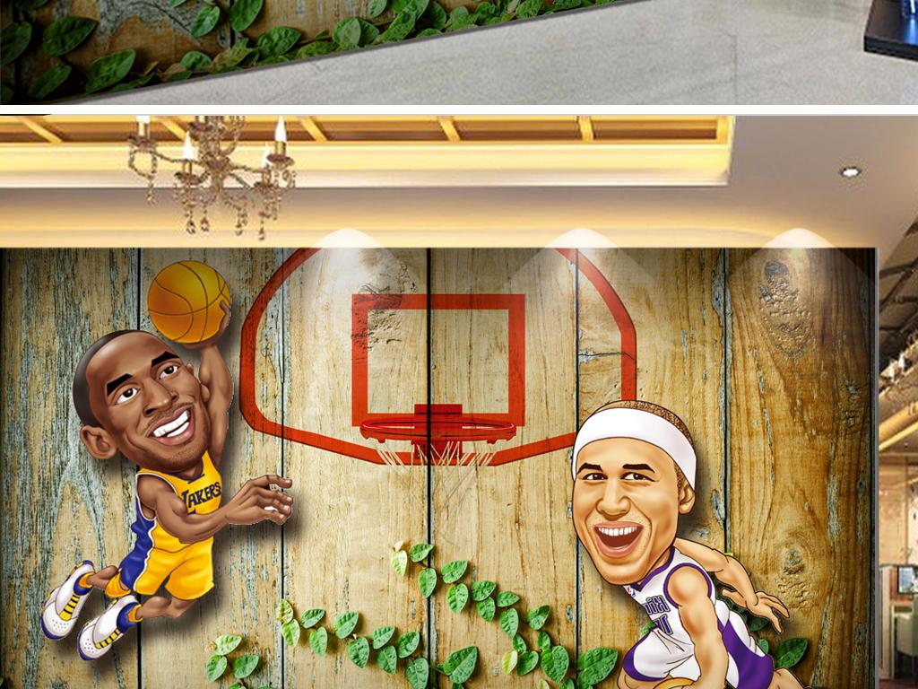 背景墙 电视背景墙 3d电视背景墙 > 木板背景扣篮手绘篮球工装背景墙