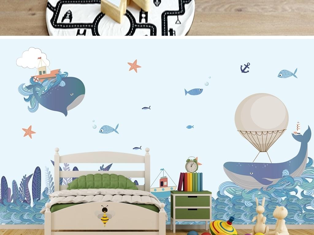 北欧创意手绘海洋鲸鱼插画儿童房背景墙壁纸图片设计