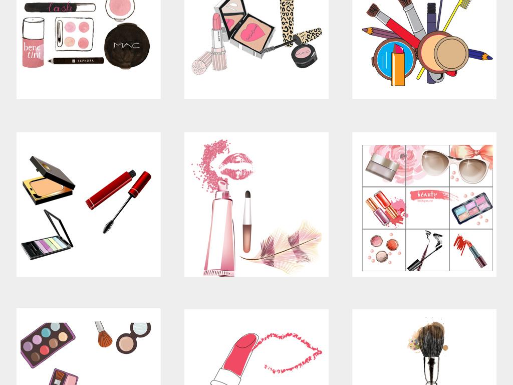 可爱手绘美妆彩妆化妆品化妆用具png免扣素材