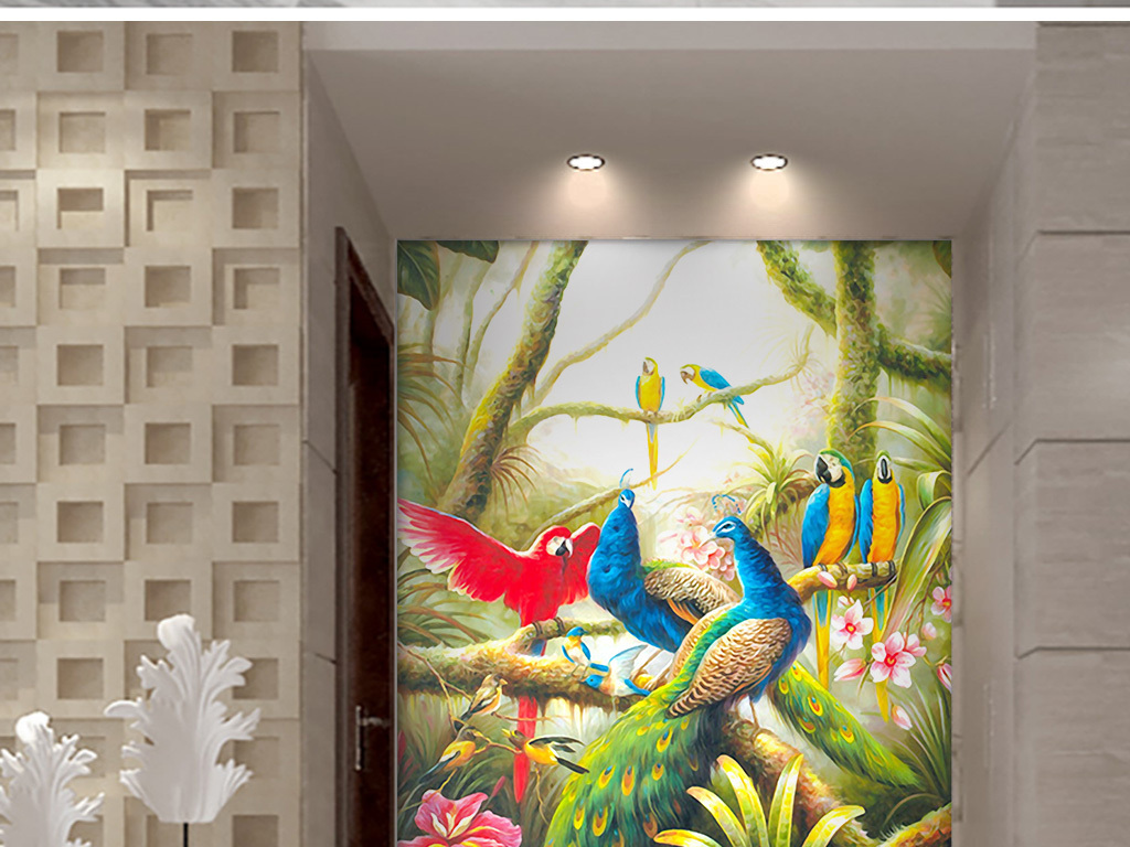 欧式手绘森林孔雀玄关装饰画