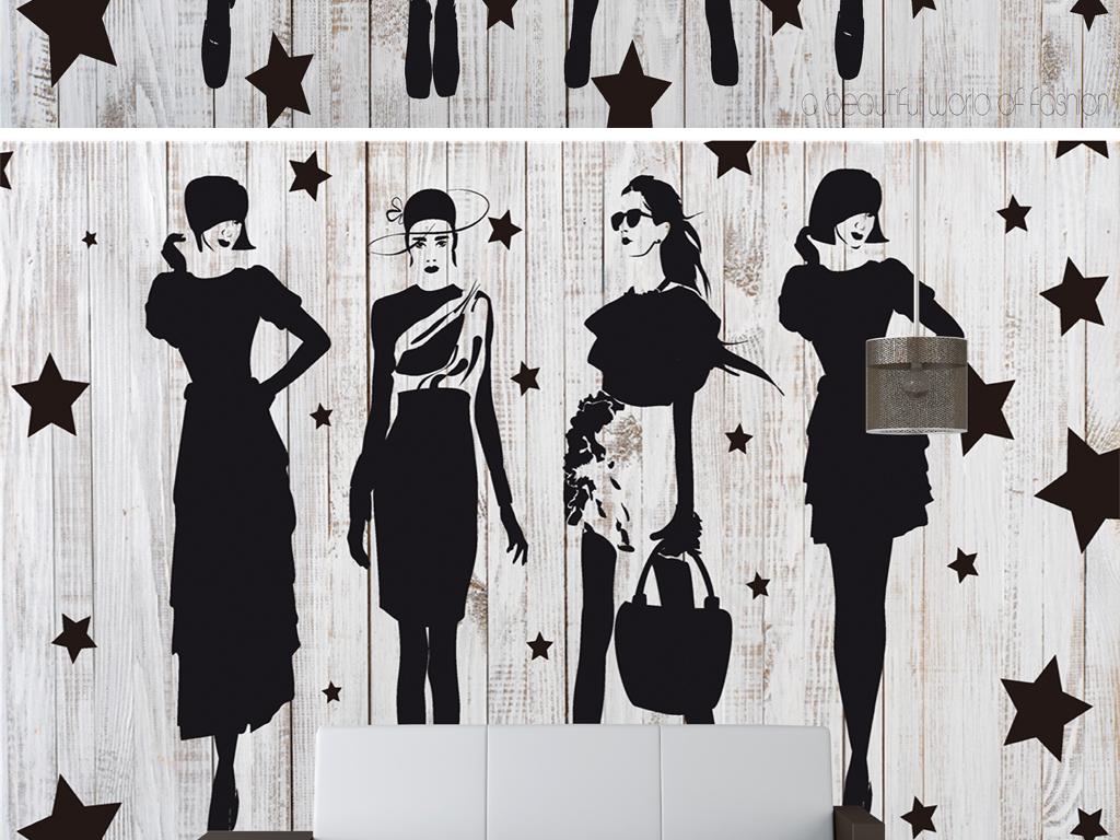 手绘复古美女服装店背景墙psd模板