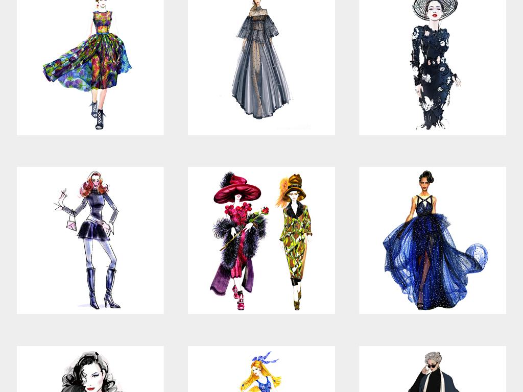 卡通手绘时尚美女模特海报设计png素材