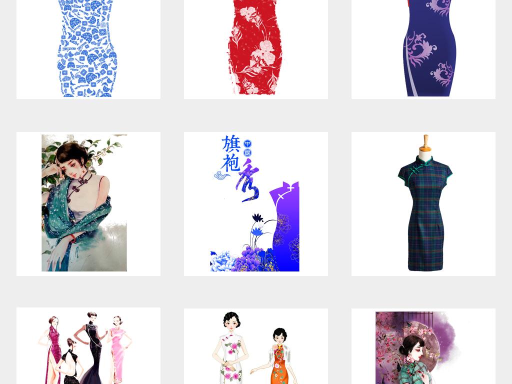 花纹撑伞旗袍素材美女中国传统材旗袍美女素材旗袍中国民国服饰设计
