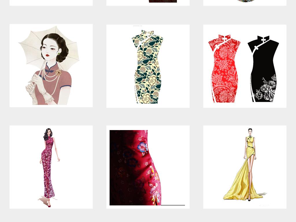 旗袍文化美女旗袍古风女性旗袍设计民国女性中国风花纹撑伞旗袍