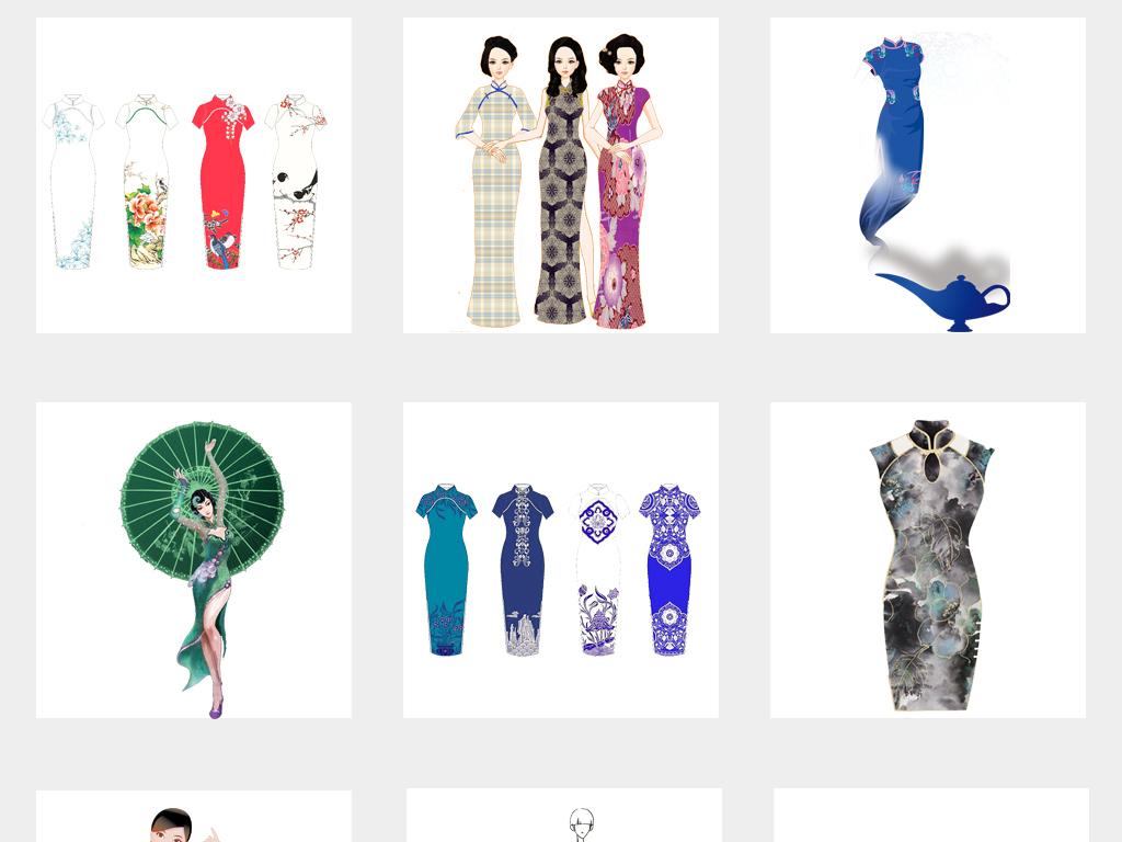 花纹撑伞旗袍素材美女中国传统材旗袍美女素材旗袍中国民国服饰设计设