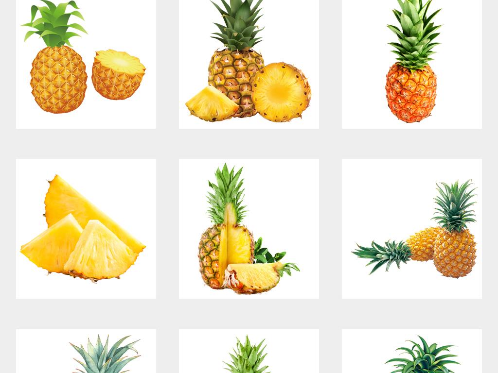 菠萝卡通手绘菠萝png免扣素材