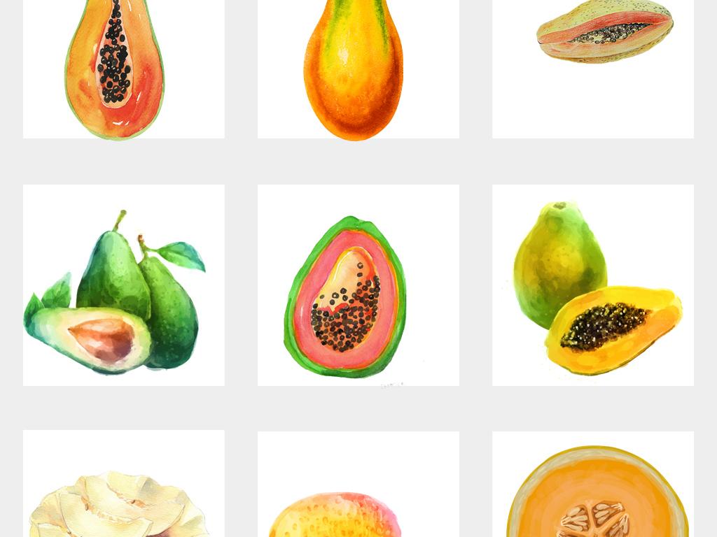 可爱手绘木瓜水彩哈密瓜海报设计png免扣素材