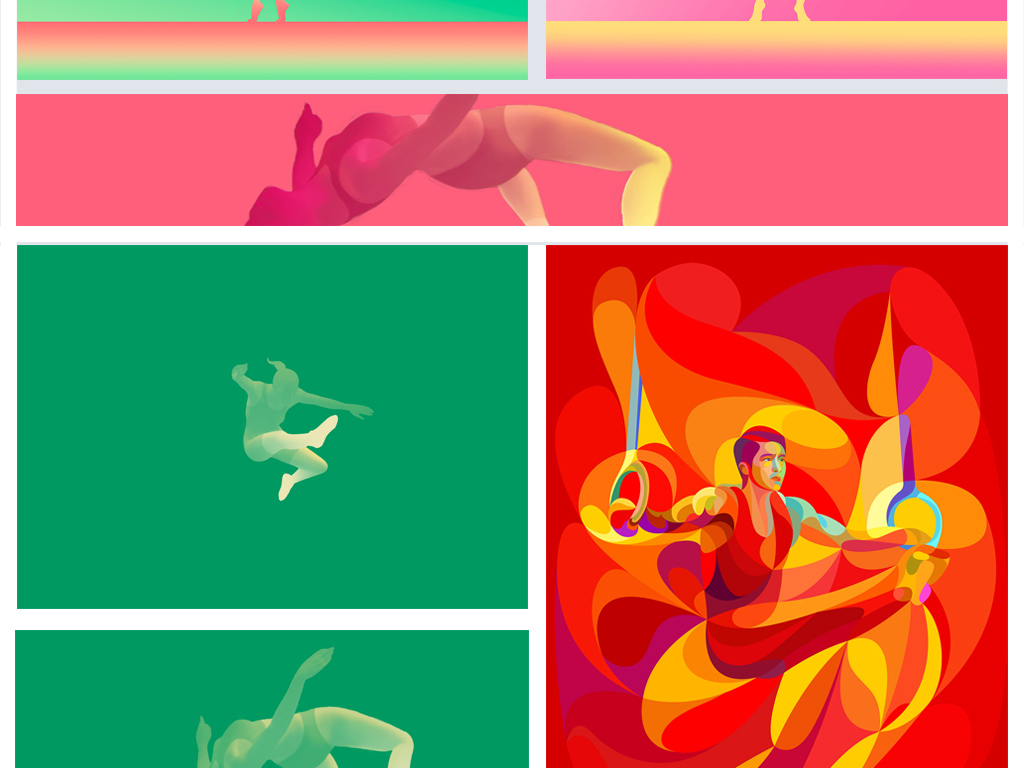 手绘插画时尚体操跑步乒乓球篮球跳高网球羽毛球人物创意渐变人物创意