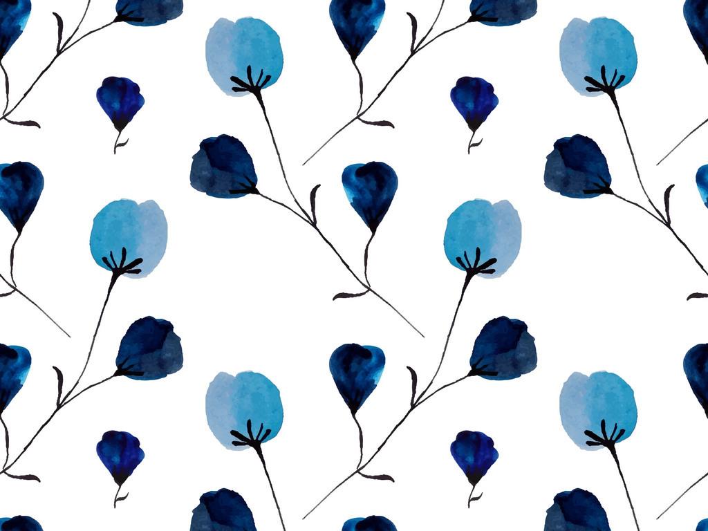 原创手绘水彩蓝色碎花小清新无缝背景底纹图案