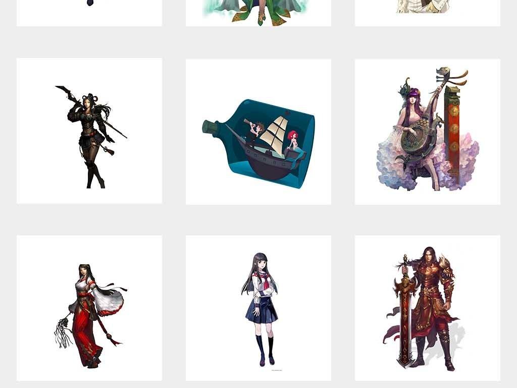 游戏美女二次元人物免抠png素材图片_模板下载(78.83)