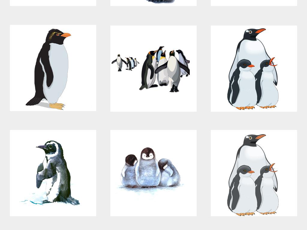 可爱企鹅帝企鹅图片手绘企鹅背景png免扣素材