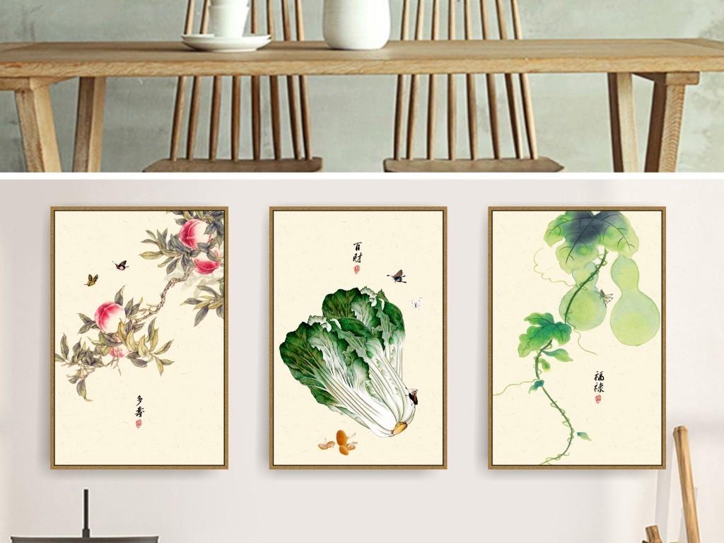 无框画 民俗装饰画 > 工笔手绘福禄寿百财新中式民俗古风装饰画  素材