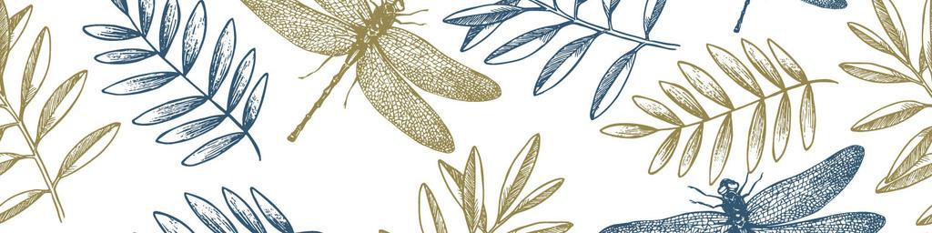 手绘线描淡雅蜻蜓树叶无缝背景图案