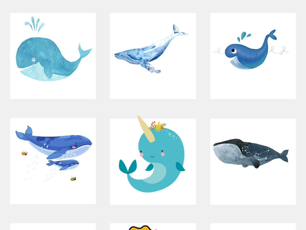 鲸鱼动物卡通海洋馆背景海报设计png素材