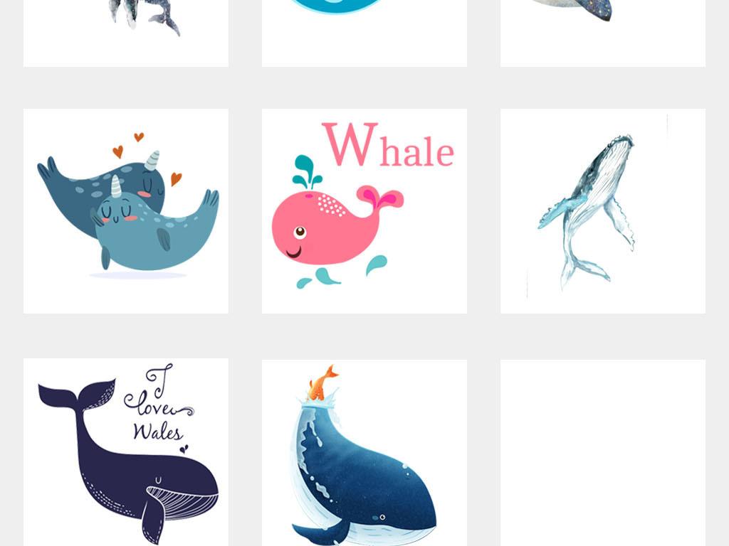 海豚简笔画颜色手绘
