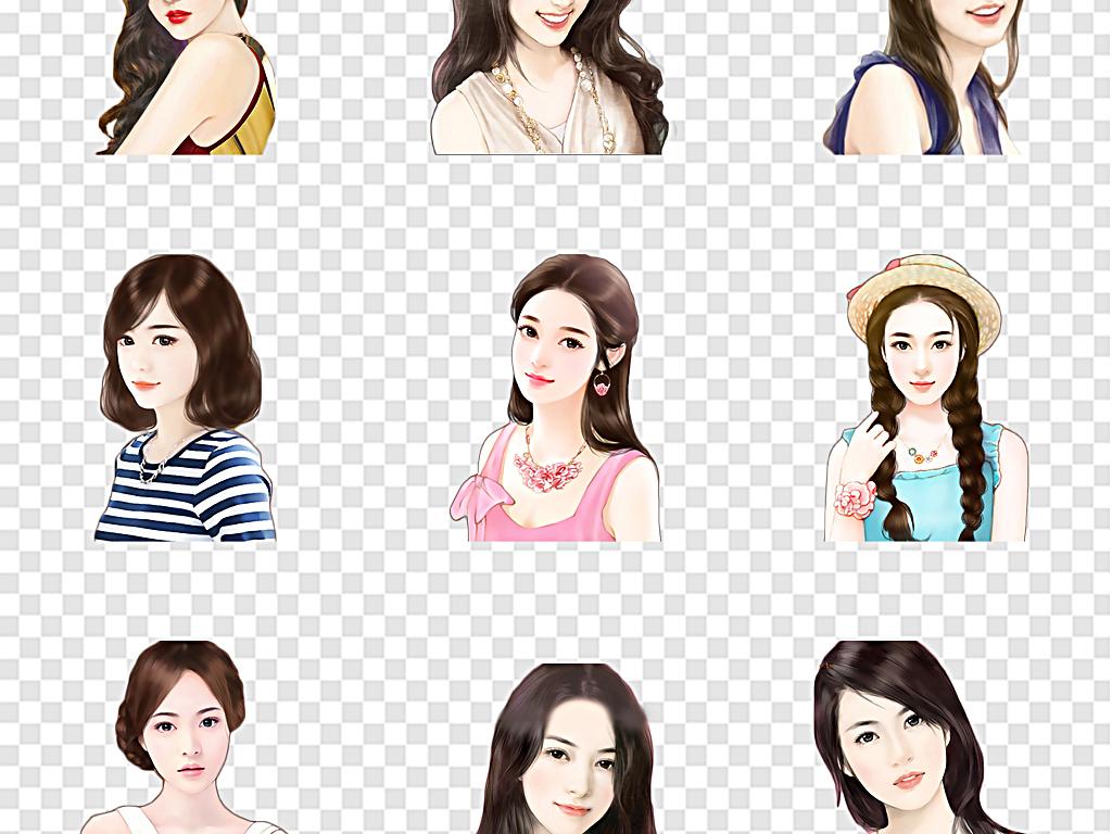 设计元素 人物形象 美女 > 优雅手绘美女图片单纯女孩校园美女大学生