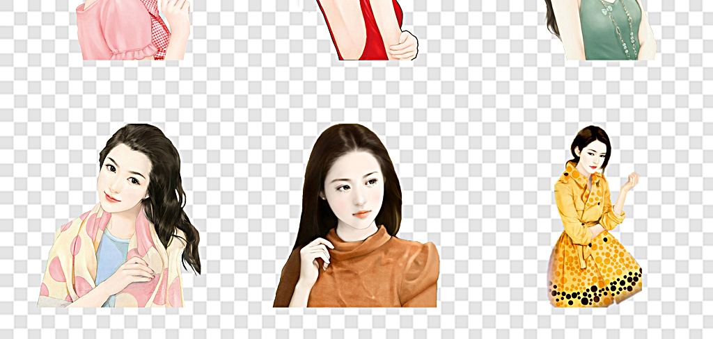 手绘美女图片知性现代女人
