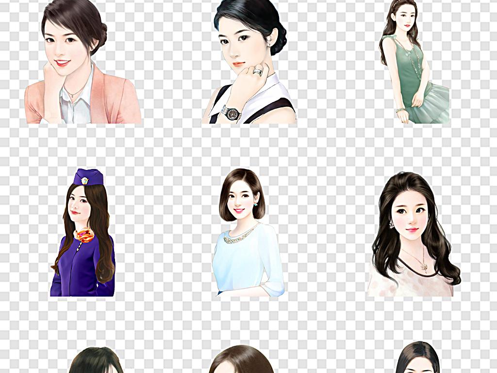 手绘现代美女优雅手绘美女图片现代女人