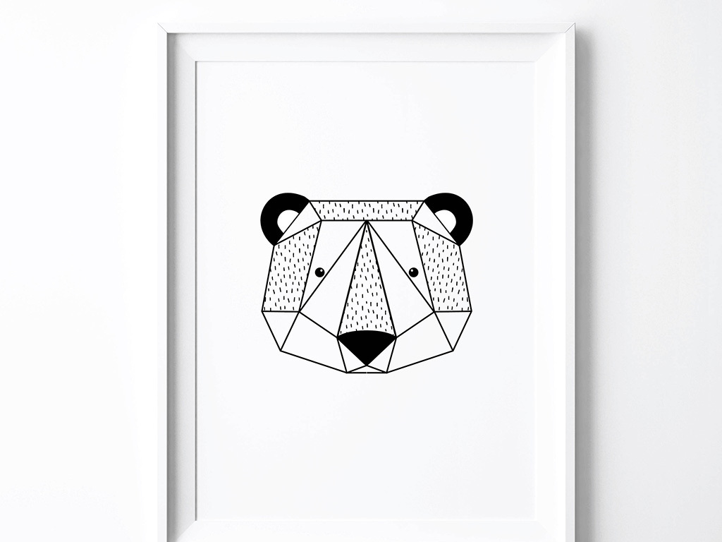 北欧黑白卡通动物脸装饰画