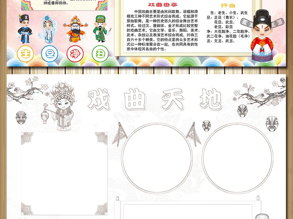 中华戏曲文化艺术京剧小报手抄报模板