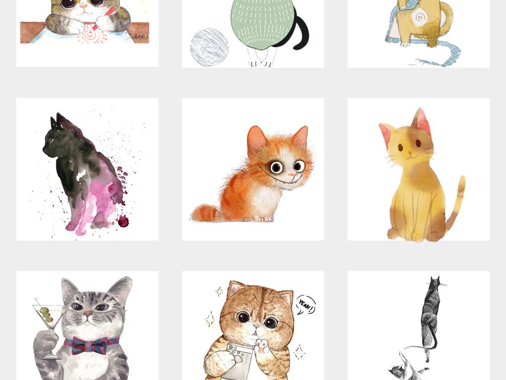 可爱卡通手绘猫咪水彩文艺抽象猫背景png免抠素材