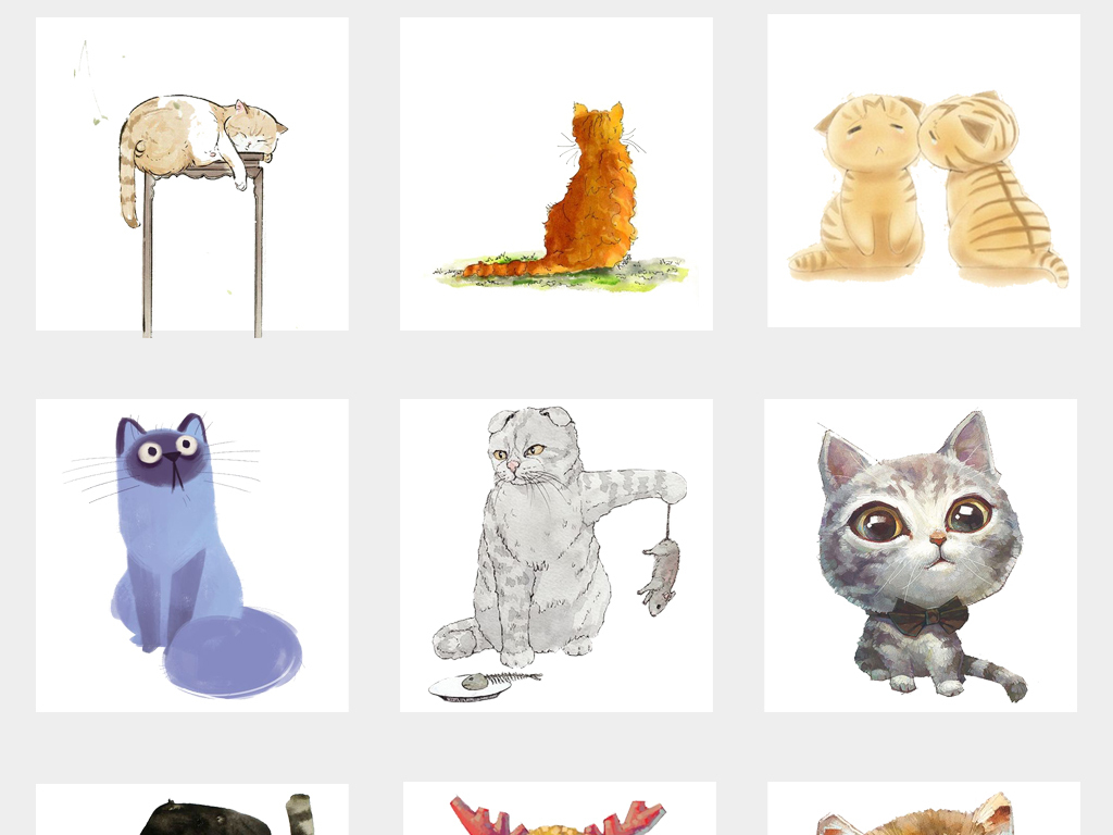 可爱卡通手绘猫咪水彩文艺抽象猫背景png免抠素材图片