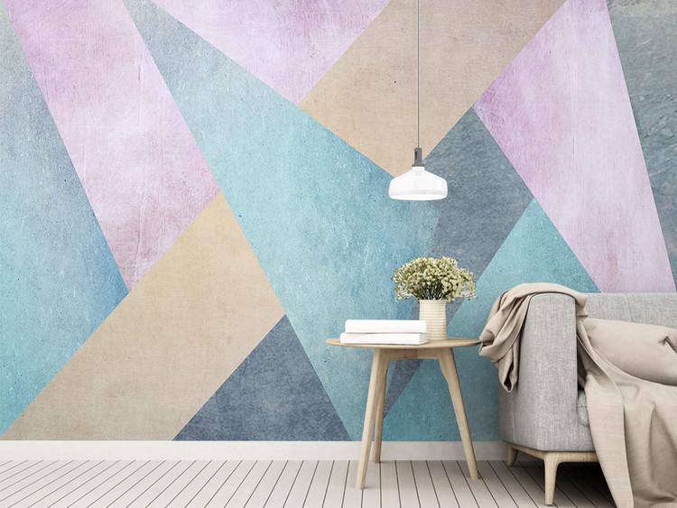 北欧简约个性抽象几何方块电视背景墙