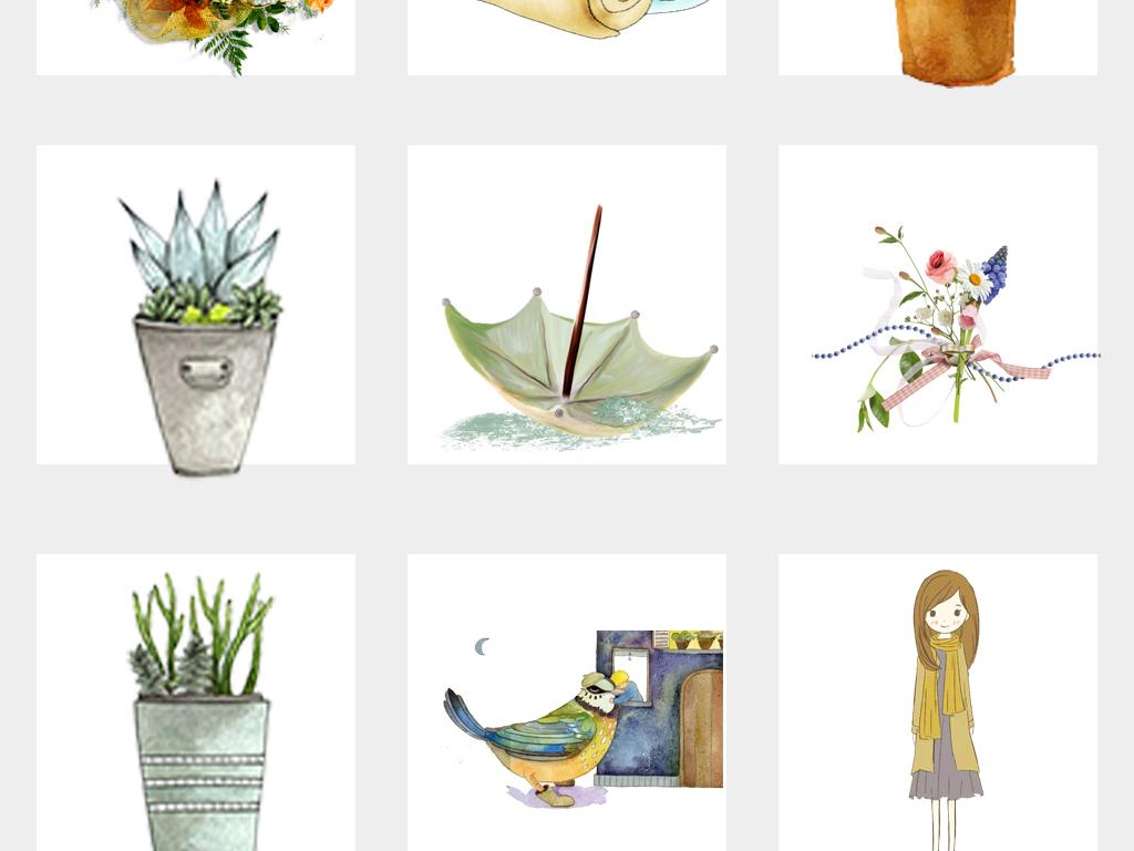 创意插画手绘花盆文艺小清新水彩插画图案png免扣素材