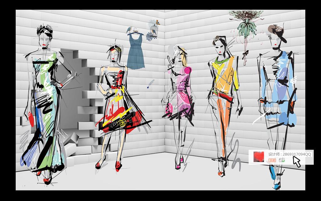 3d服装店模特手绘美女工装背景墙