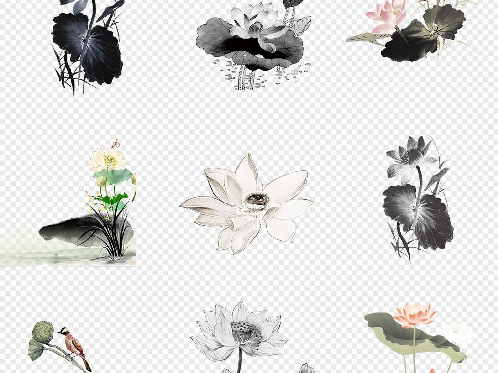 50款手绘水墨荷花荷叶图片背景png素材