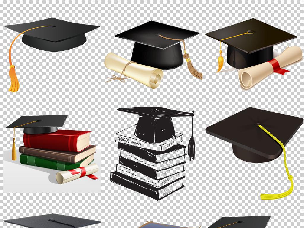 毕业季卡通学生博士帽学士帽png免抠透明素材