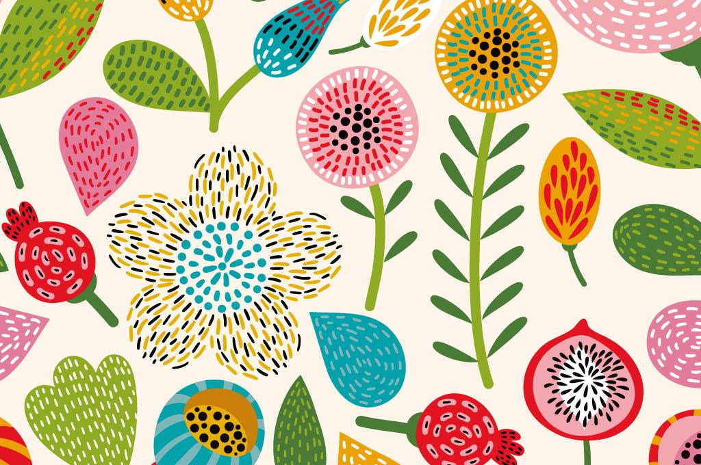 手绘卡通可爱花朵无缝背景图案