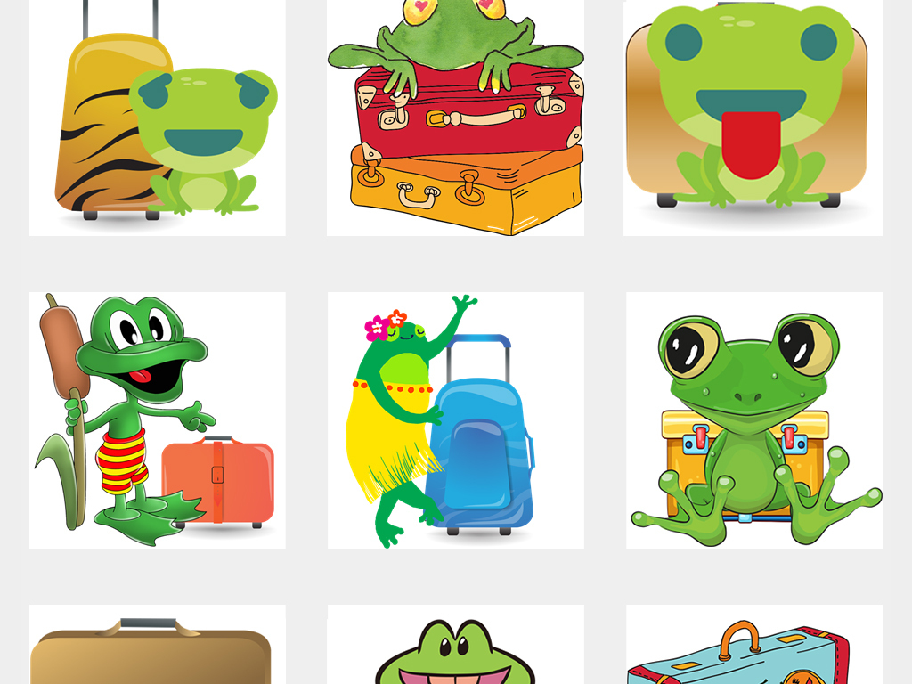 卡通手绘上学旅行的青蛙png透明背景免抠素材